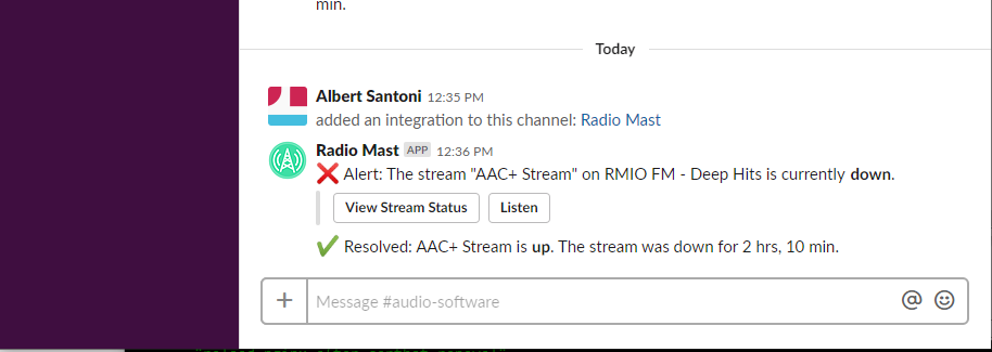 Example Slack notification from Radio Mast