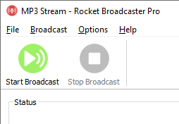 Screenshot of 'Start Broadcast' button in Rocket Broadcaster